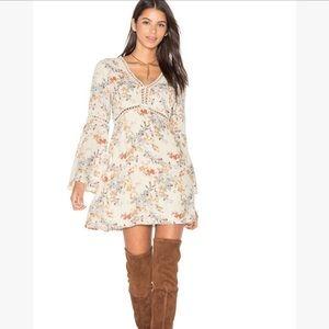WAYF Floral Bell Sleeve Dress